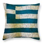 Grunge Greece Flag Throw Pillow