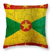 Grunge Grenada Flag Throw Pillow