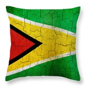 Grunge Guyana Flag Throw Pillow