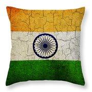 Grunge India Flag Throw Pillow