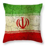 Grunge Iran Flag Throw Pillow