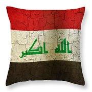 Grunge Iraq Flag Throw Pillow