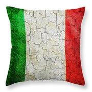 Grunge Italy Flag Throw Pillow