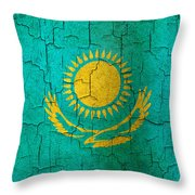 Grunge Kazakhstan Flag Throw Pillow