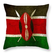 Grunge Kenya Flag Throw Pillow