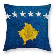 Grunge Kosovo Flag Throw Pillow