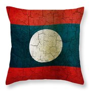 Grunge Laos Flag Throw Pillow