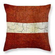 Grunge Latvia Flag Throw Pillow