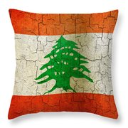 Grunge Lebanon Flag Throw Pillow