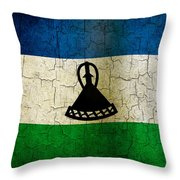 Grunge Lesotho Flag Throw Pillow