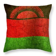 Grunge Malawi Flag Throw Pillow
