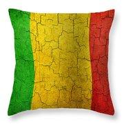 Grunge Mali Flag Throw Pillow