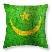 Grunge Mauritania Flag Throw Pillow