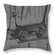 Grunge Mine Trolley Patent Throw Pillow