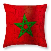 Grunge Morocco Flag Throw Pillow