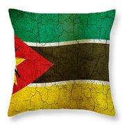 Grunge Mozambique Flag Throw Pillow