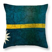 Grunge Nauru Flag Throw Pillow