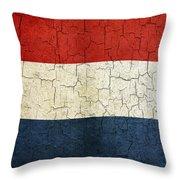 Grunge Netherlands Flag Throw Pillow