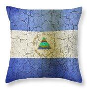 Grunge Nicaragua Flag Throw Pillow