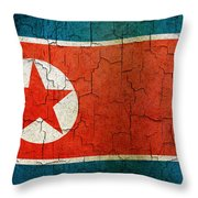 Grunge North Korea Flag Throw Pillow
