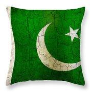 Grunge Pakistan Flag Throw Pillow