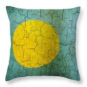 Grunge Palau Flag Throw Pillow