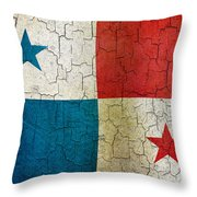 Grunge Panama Flag Throw Pillow