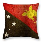 Grunge Papua New Guinea Flag Throw Pillow