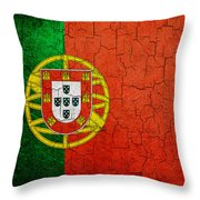 Grunge Portugal Flag Throw Pillow