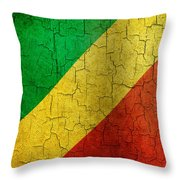 Grunge Republic Of The Congo Flag Throw Pillow