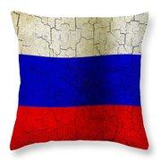Grunge Russia Flag Throw Pillow
