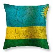 Grunge Rwanda Flag Throw Pillow