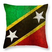 Grunge Saint Kitts And Nevis Flag Throw Pillow