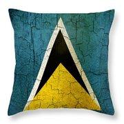 Grunge Saint Lucia Flag Throw Pillow