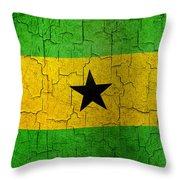 Grunge Sao Tome And Principe Flag Throw Pillow