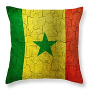 Grunge Senegal Flag Throw Pillow