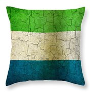 Grunge Sierra Leone Flag Throw Pillow