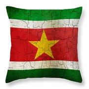 Grunge Suriname Flag Throw Pillow
