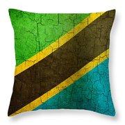 Grunge Tanzania Flag Throw Pillow