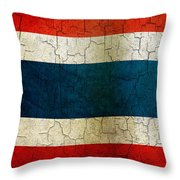 Grunge Thailand Flag Throw Pillow