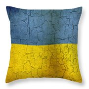 Grunge Ukraine Flag Throw Pillow
