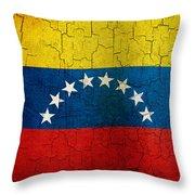 Grunge Venezuela Flag Throw Pillow