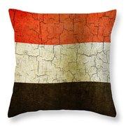 Grunge Yemen Flag Throw Pillow