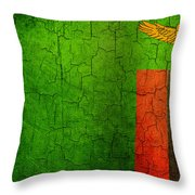 Grunge Zambia Flag Throw Pillow