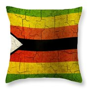 Grunge Zimbabwe Flag Throw Pillow