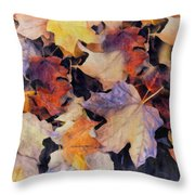 Grungy Autumn Leaves Throw Pillow