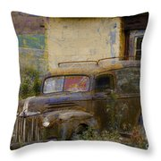 Grungy Vintage Ford Panel Truck Throw Pillow