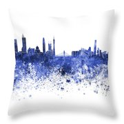Guangzhou Skyline In Blue Watercolor On White Background Throw Pillow