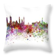 Guangzhou Skyline In Watercolor On White Background Throw Pillow