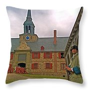 Guard At King's Bastion In Louisbourg Living History Museum-1744 Throw Pillow